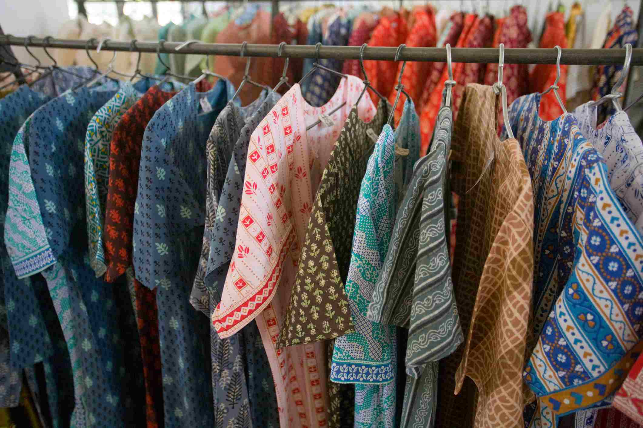Clothing for sale in the showroom at the Barefoot College