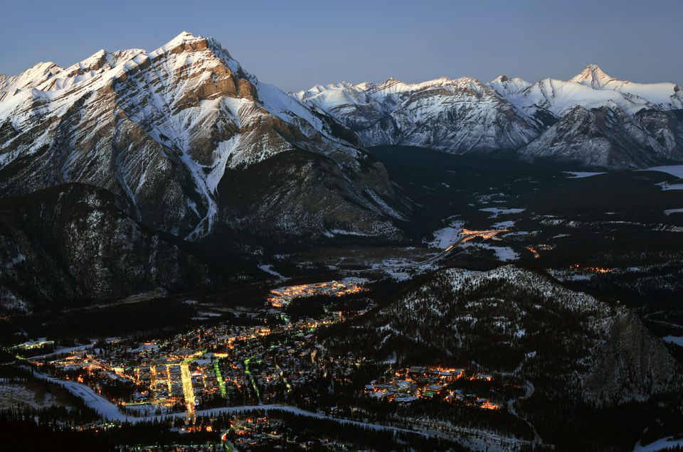 Aerial View of Banff Alberta Canada in Winter