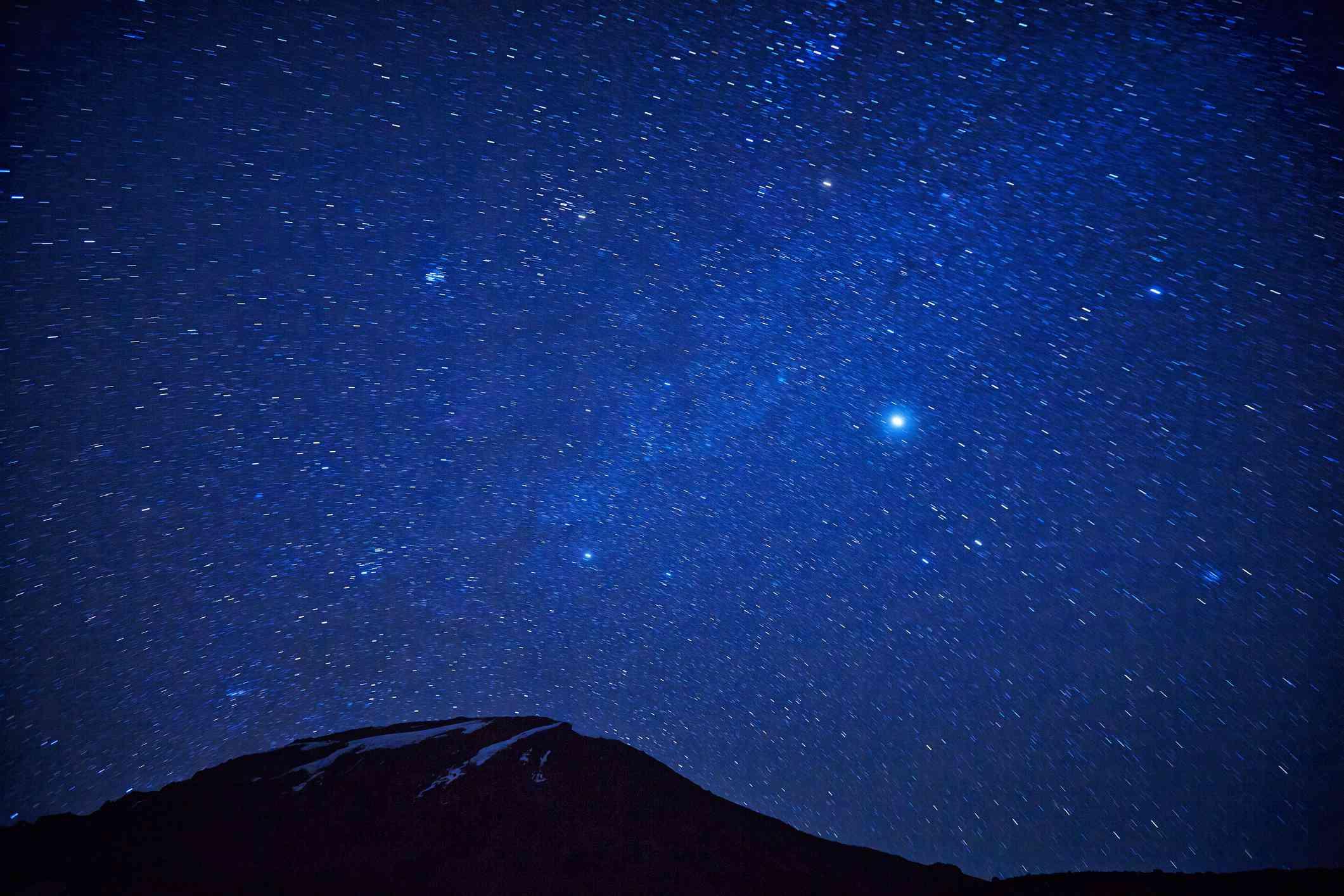 Mt Kilimanjaro, Karanga valley summit at night with stars.