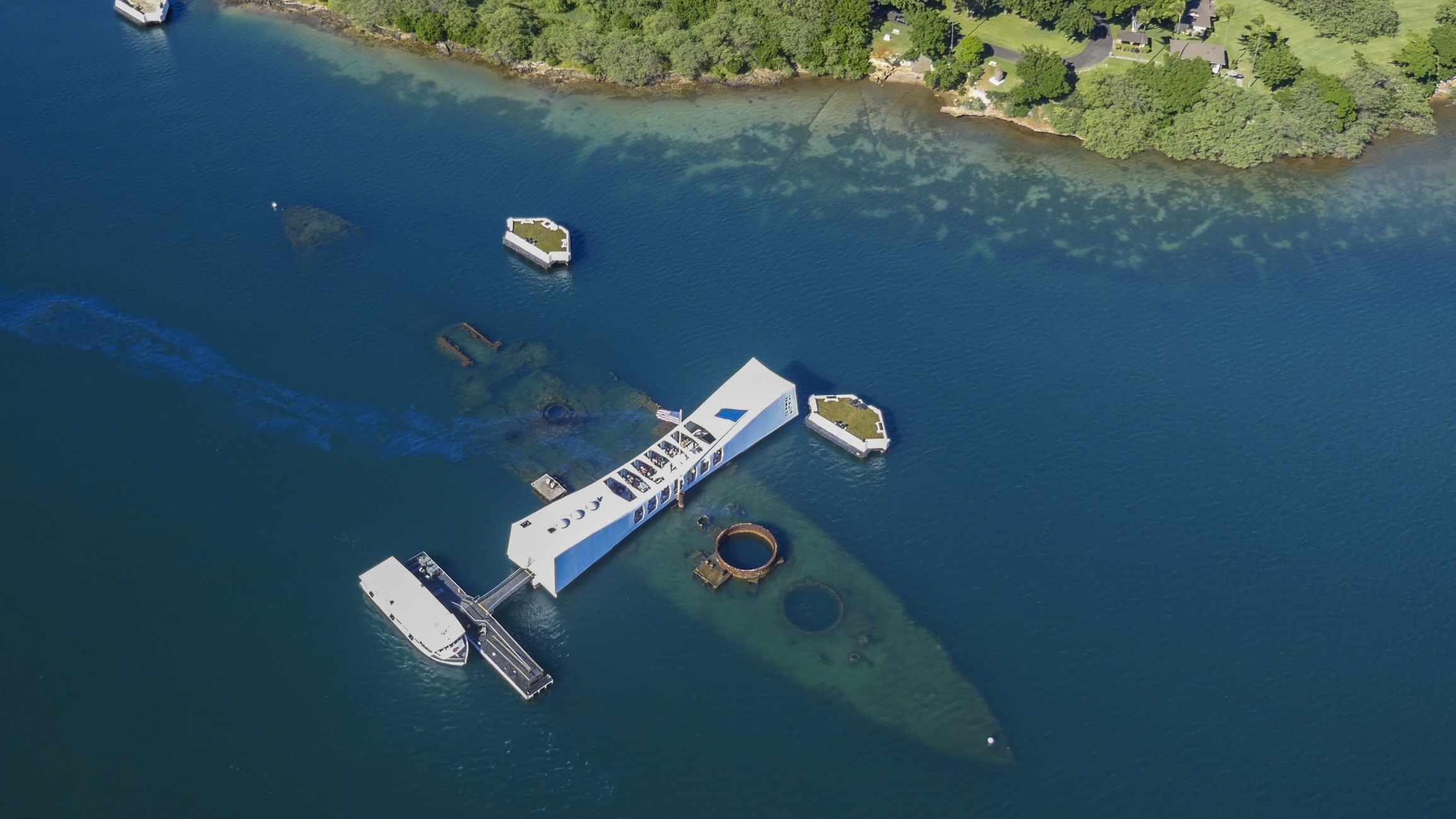 Arial view of the USS Arizona Memorial at Pearl Harbor