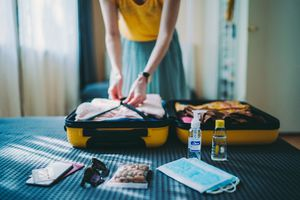 Suitcase packing for travel