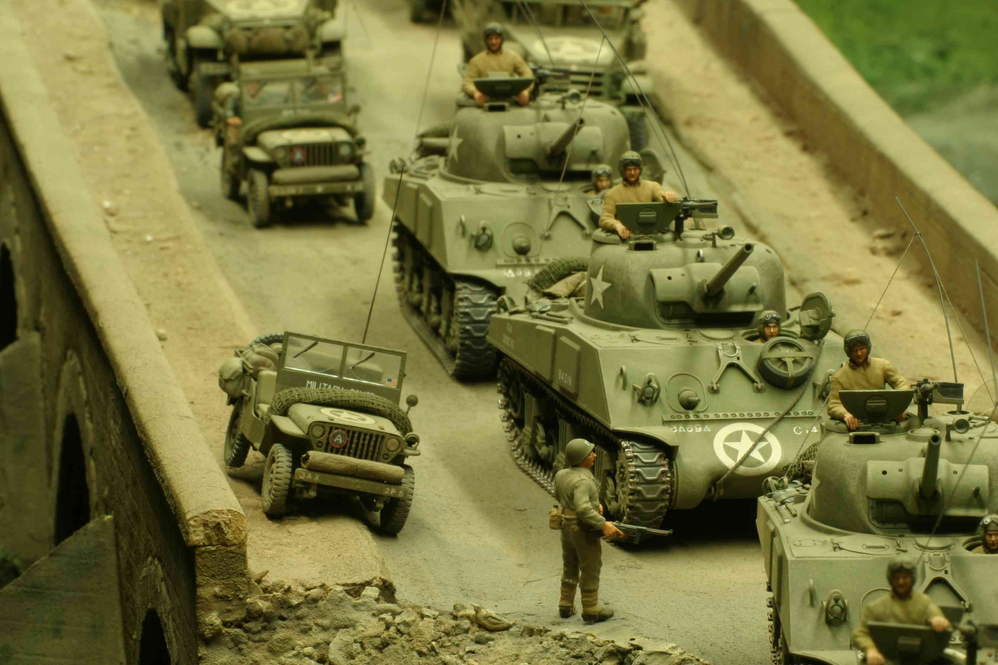 Toy soldiers in tanks at the Belgorod Diorama Museum
