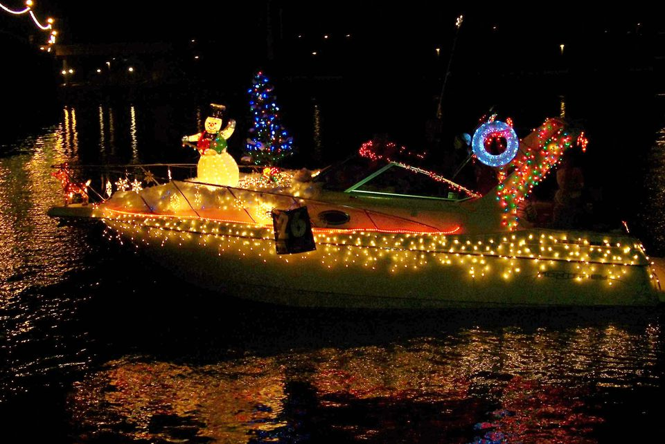 Boat with lights and christmas decorations