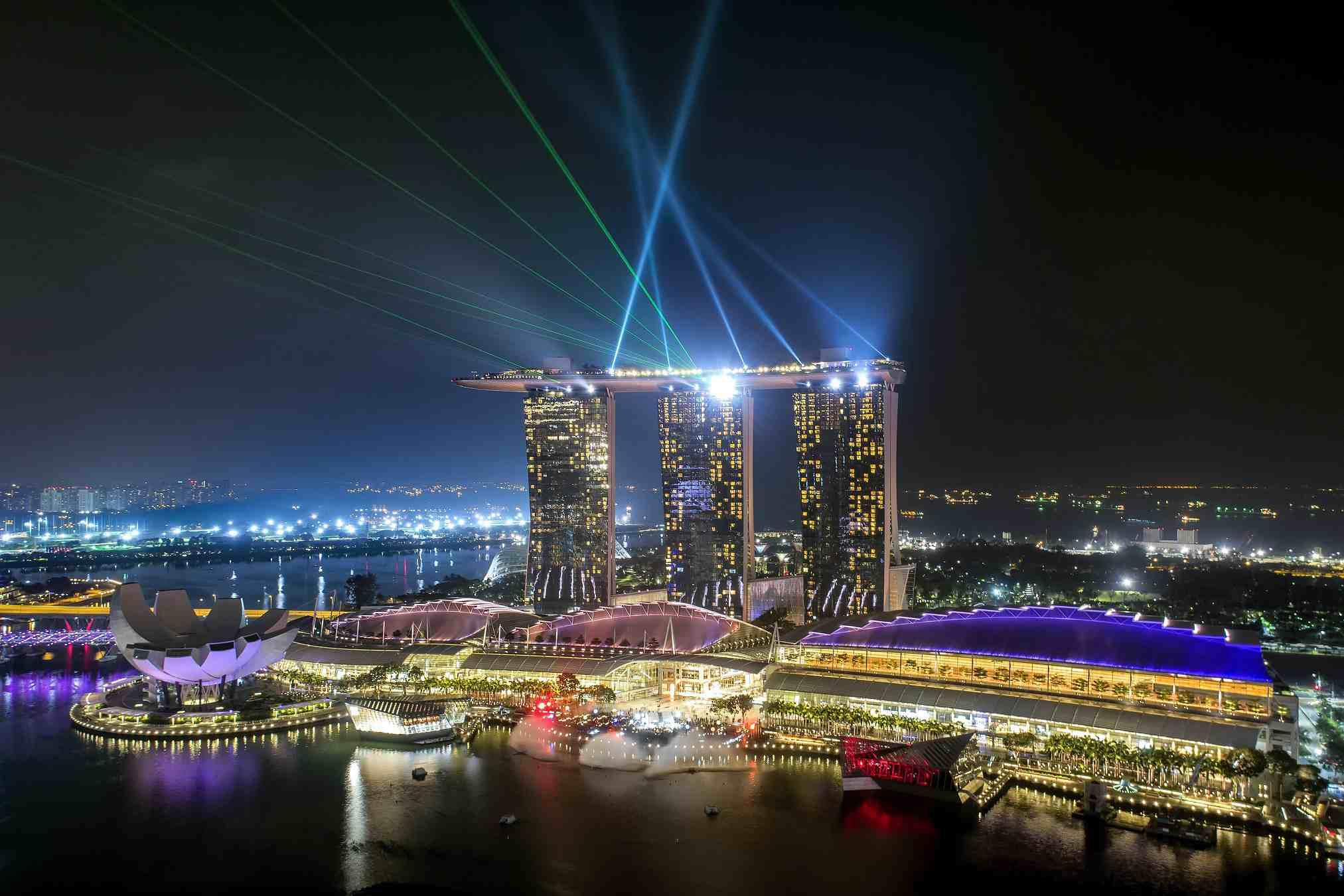 Light show at Marina Bay, Singapore