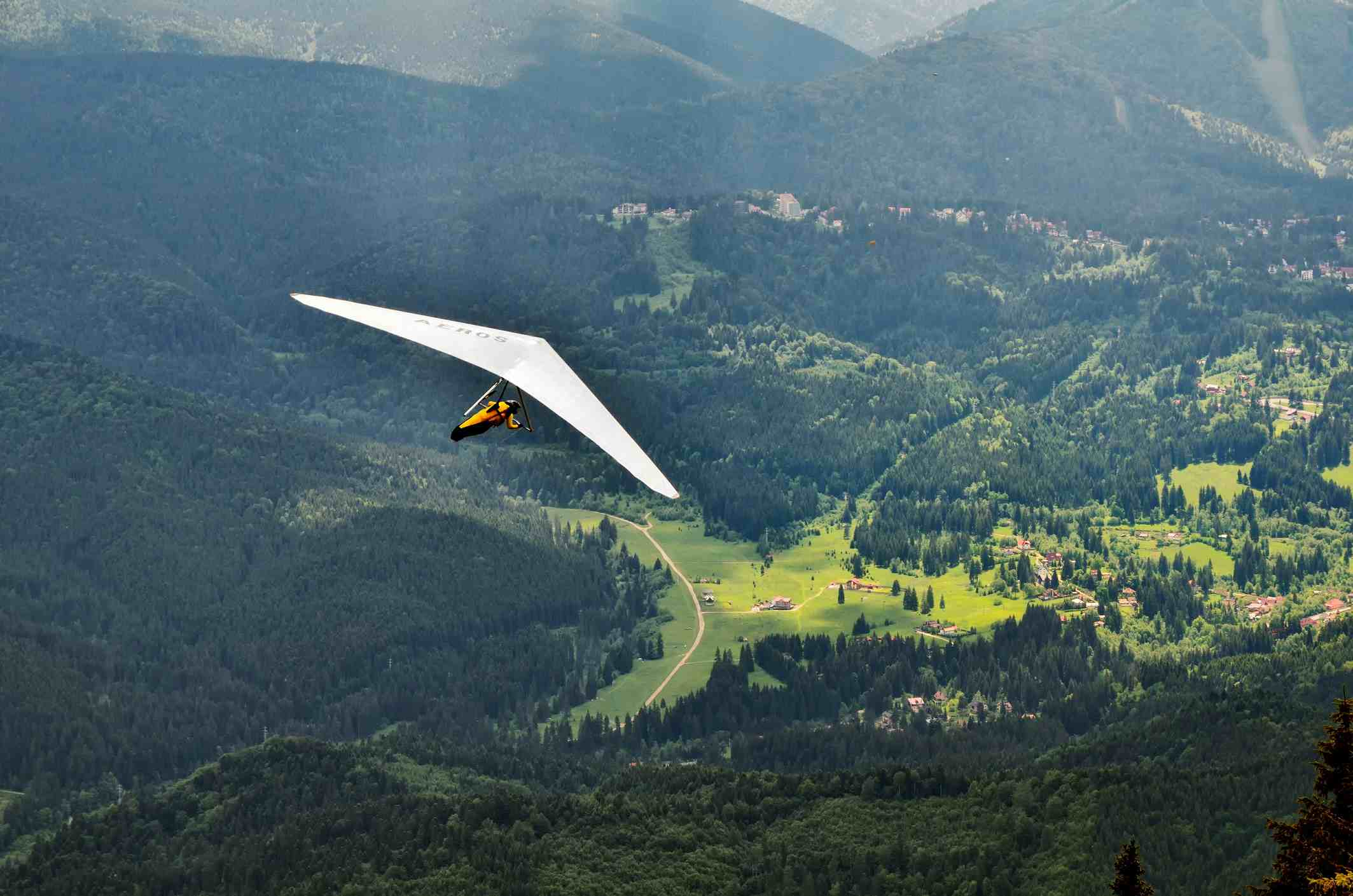 Aerial view of hang glider