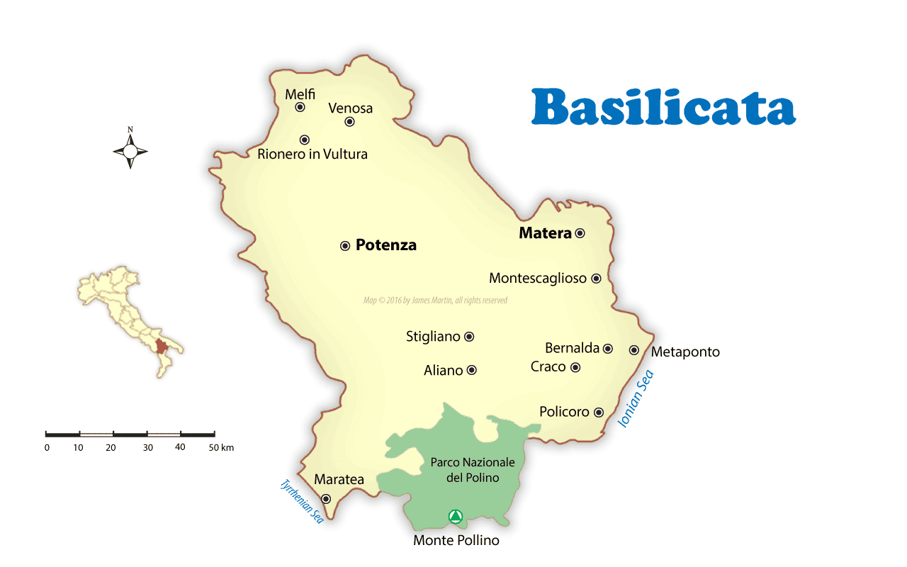 Basilicata Cities Map and Travel Guide