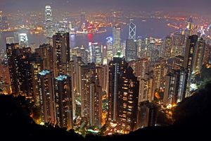 China, Hong Kong, elevated view of city