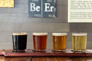 flight of beer at Waikiki Brewing Company