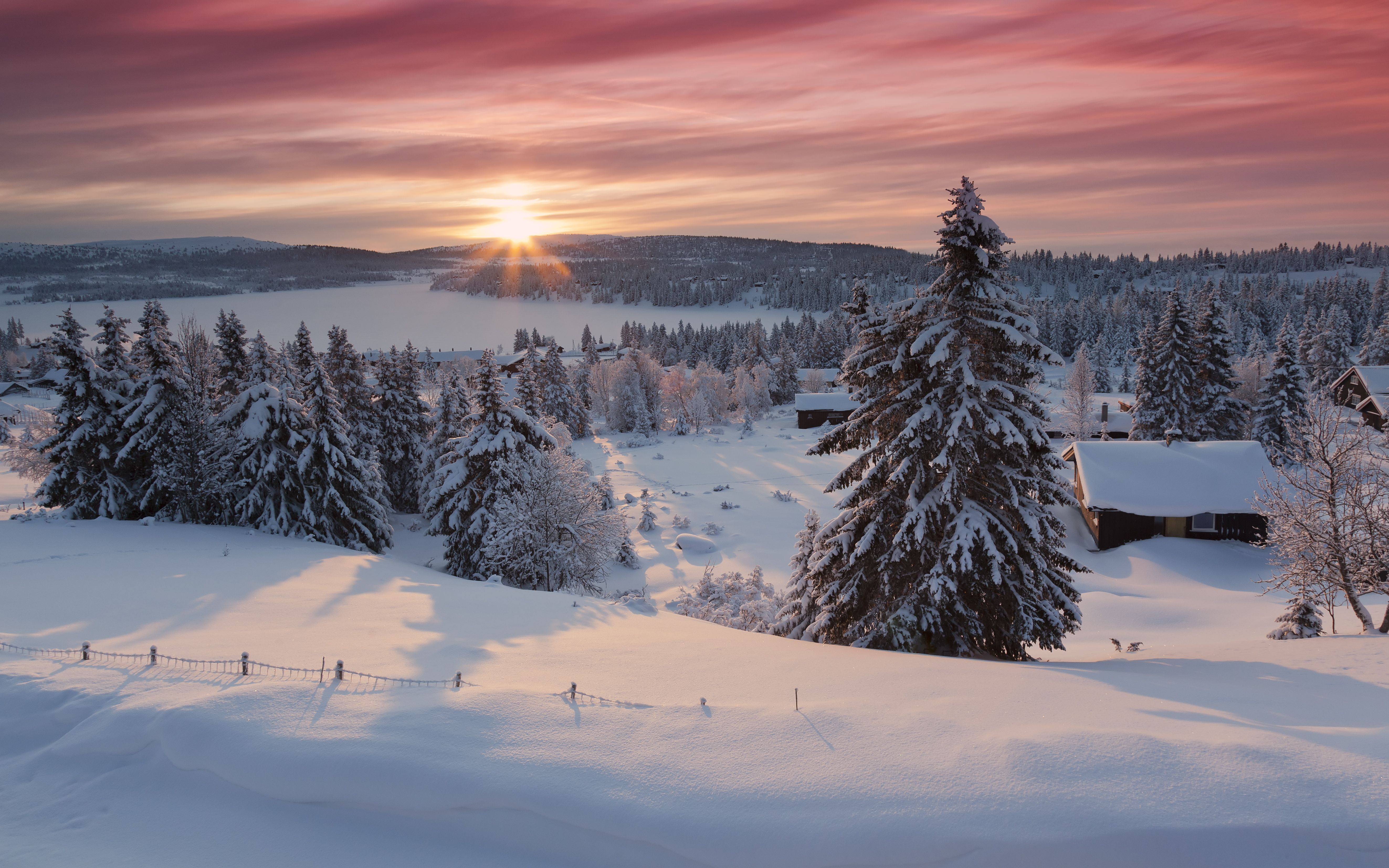View of snow covered firs and log cabins situated on shore of Lake Lillehammer, Norway.