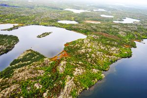 Aerial veiw of The North Arm of Great Slave Lake