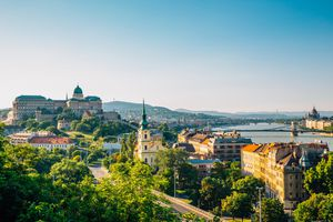 Buda Castle and Chain bridge with danube river in Budapest, Hungary