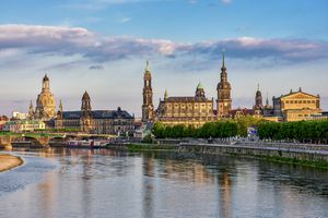 Church of Our Lady, Haussman Tower, Catholic Court Church, Semperoper and Elbe River, Dresden, Saxony, Germany