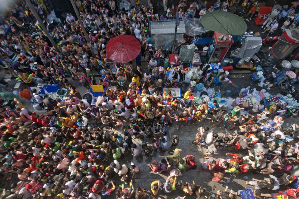 Aerial view of Songkran, a big spring festival in Asia