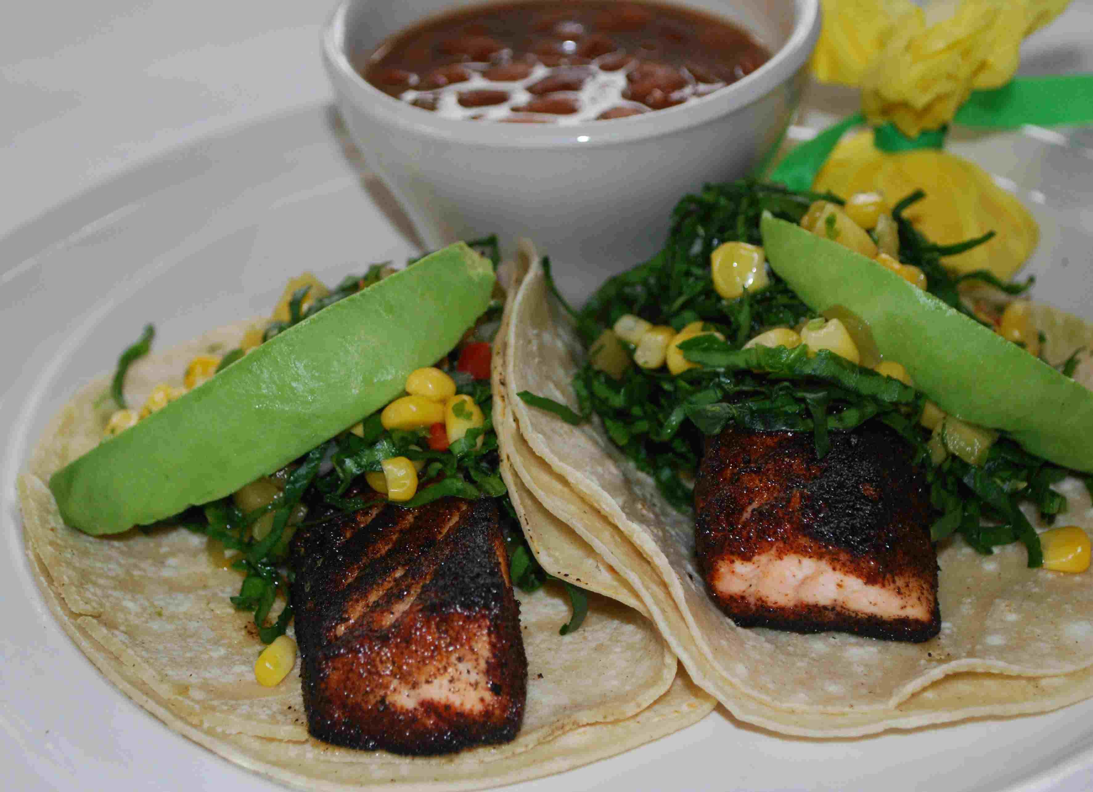 Blackened Salmon Tacos at via real