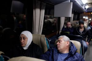 Passengers on bus in Greece