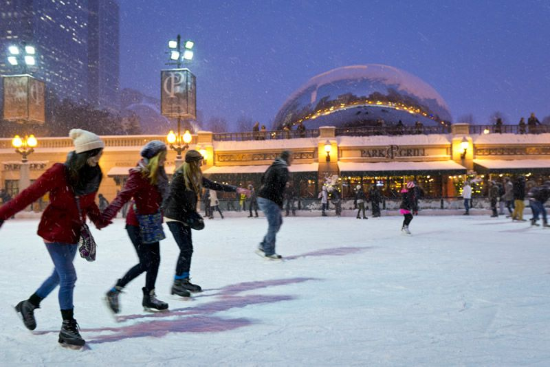 Ice skating in Chicago's Millennium Park