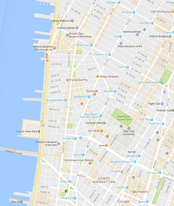 West Village and Greenwich Village NYC map
