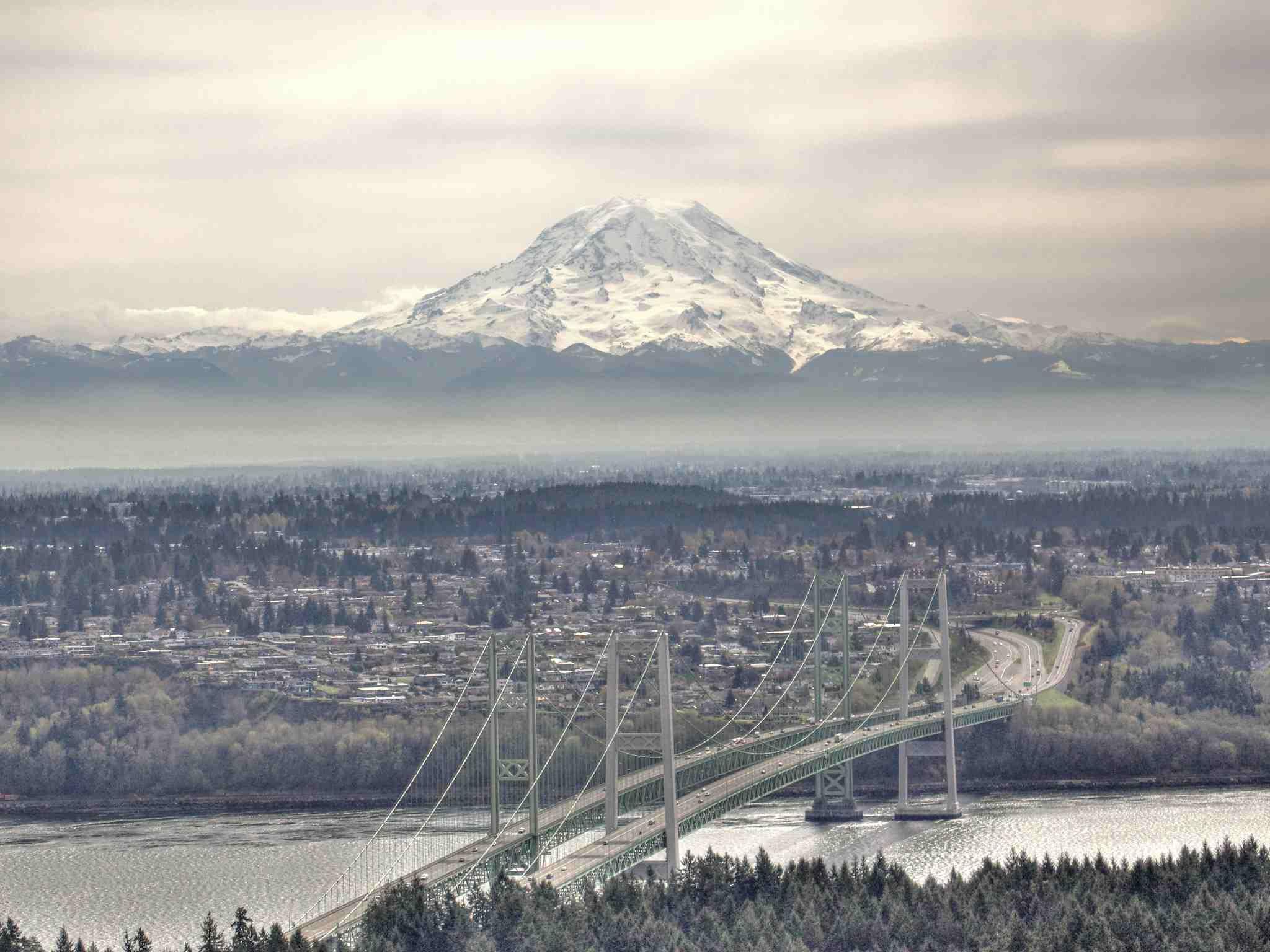 Tacoma Narrows Bridge and Mount Rainier