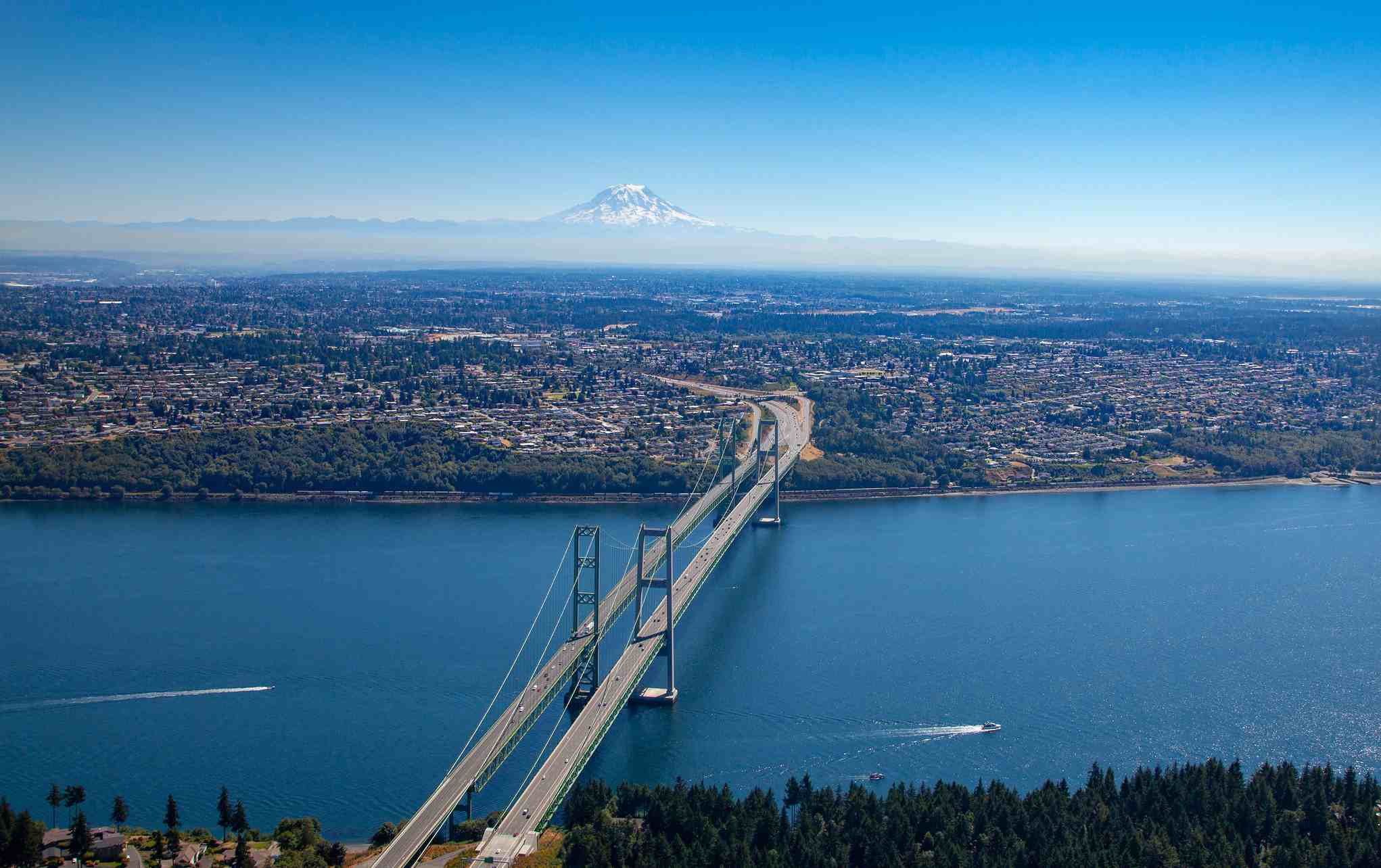 Tacoma Narrows Bridge and boats