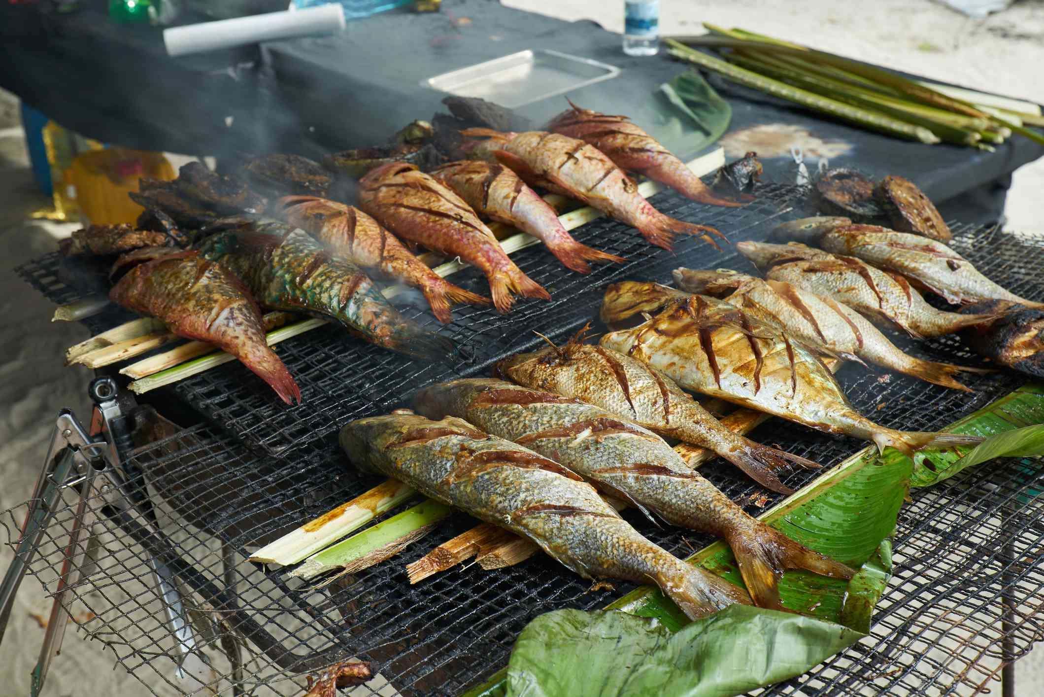Grilled fresh seafood in local market, Mahé - Seychelles Island -