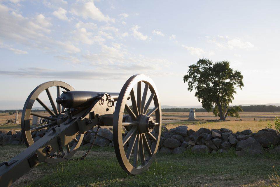Cannon at the site of Picket's Charge, Gettysburg National Military Park, Pennsylvania.