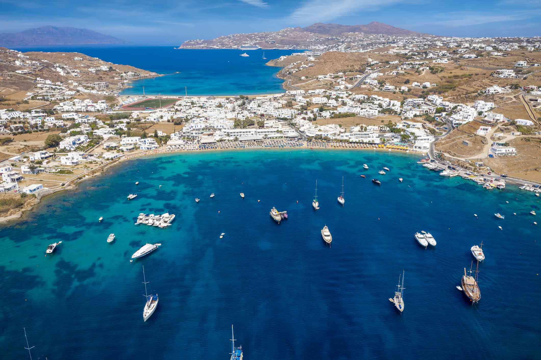 Aerial view of Ornos beach on the island of Mykonos