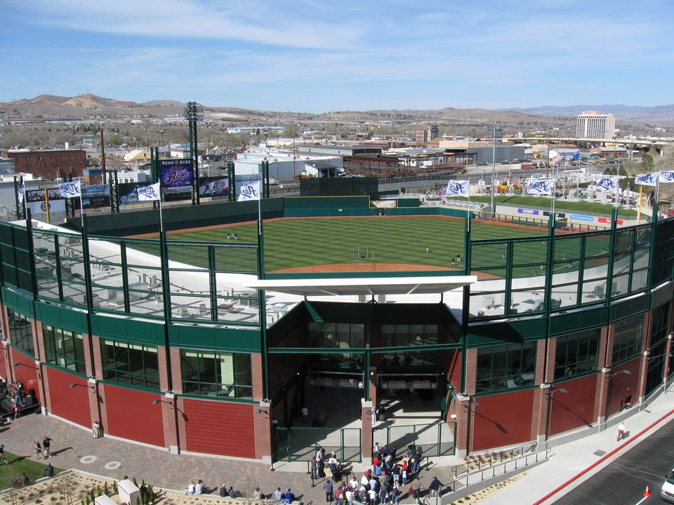 Reno Aces Baseball Stadium From Above With View Of NV In Background