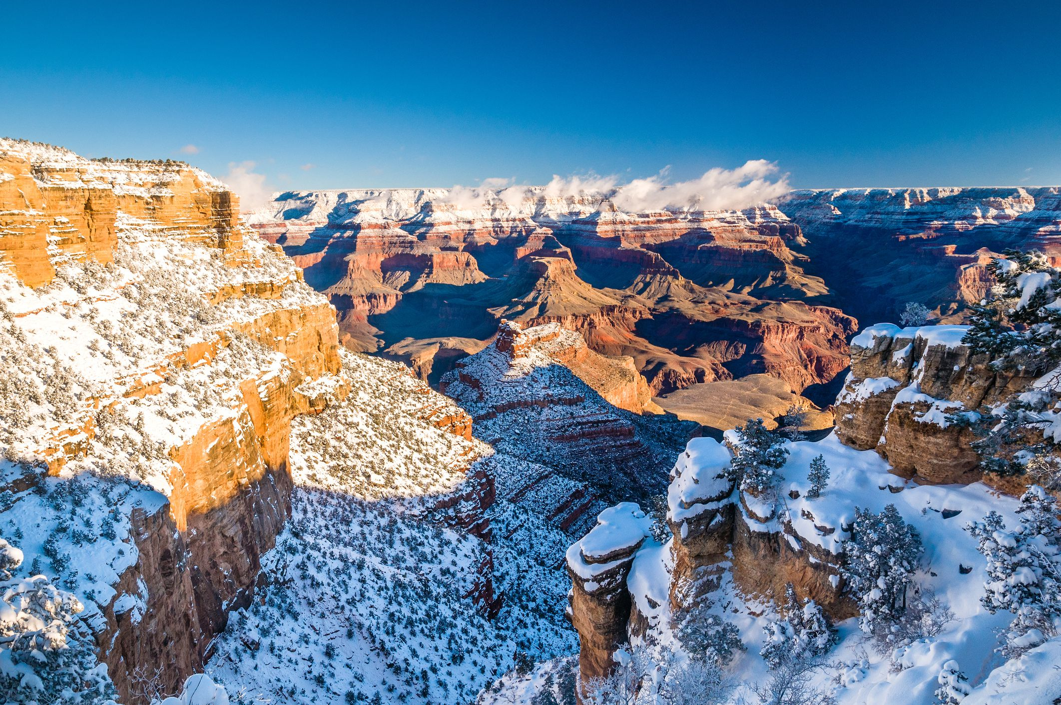 Grand Canyon in winter with a layer of snow