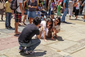 Posing for Photos at Hollywood's Chinese Theatre