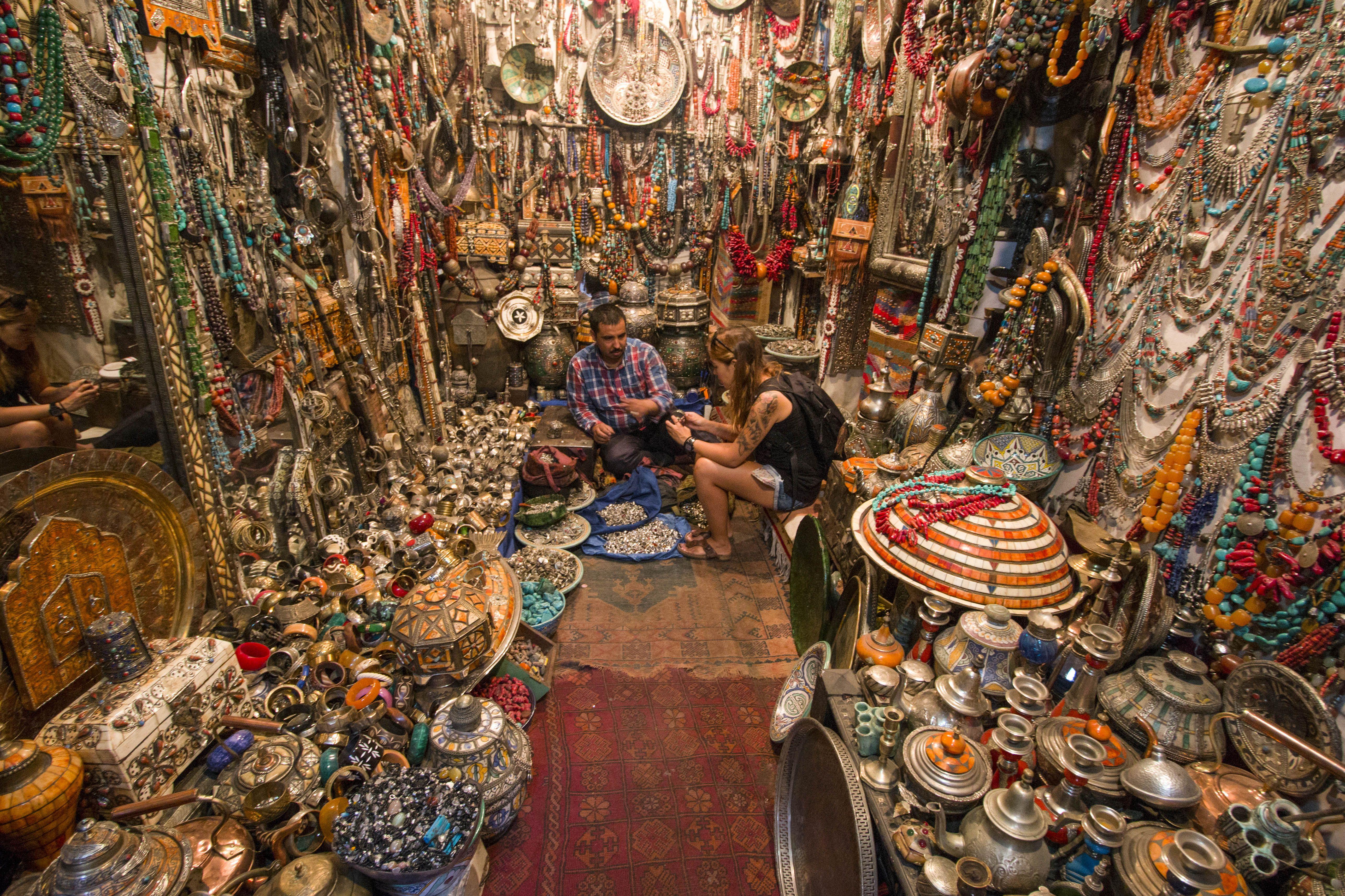 A woman shopping in the medina