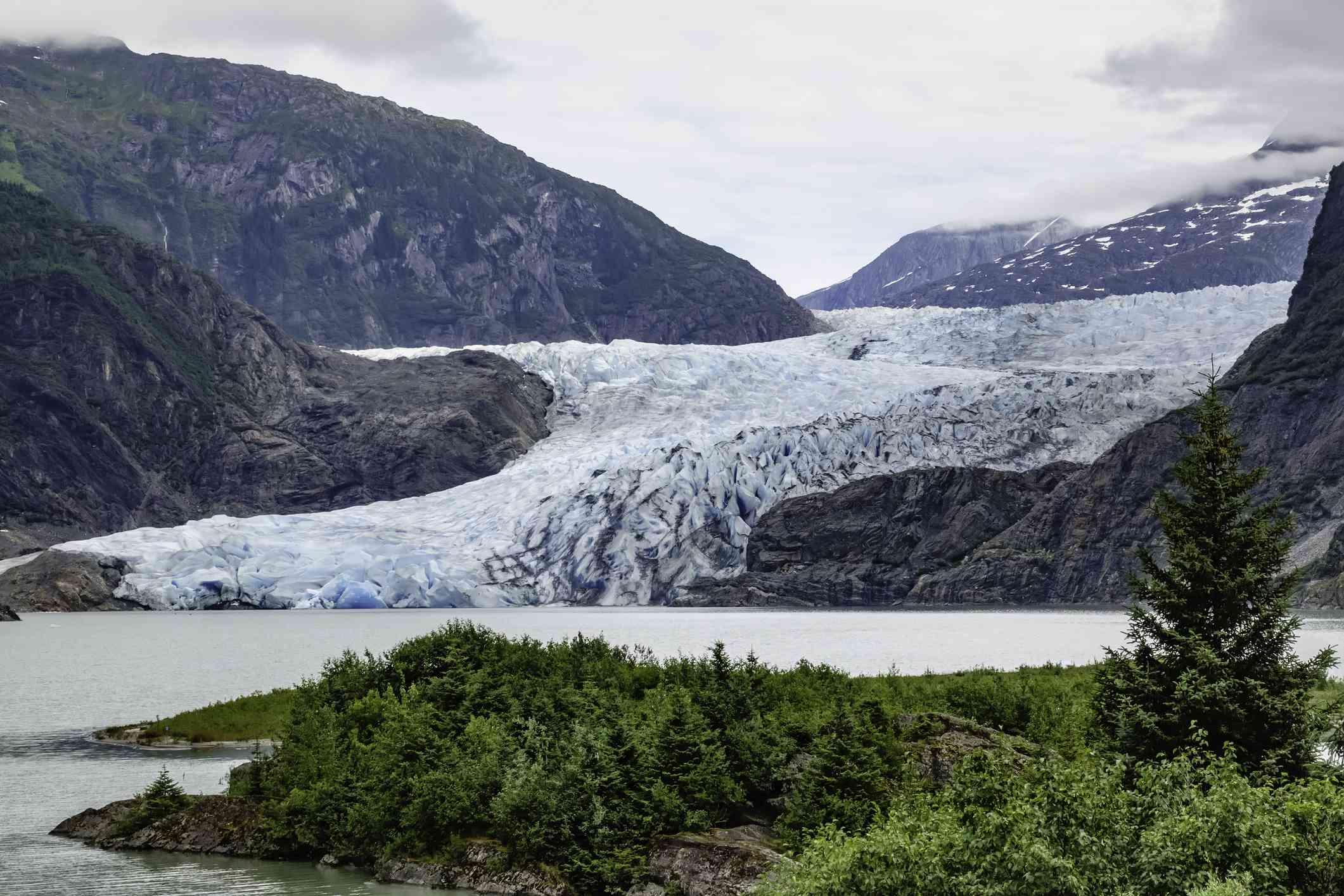 Terminus of Mendenhall Glacier near Juneau, Alaska, in summer