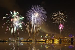 Fireworks and Louisville skyline at dusk