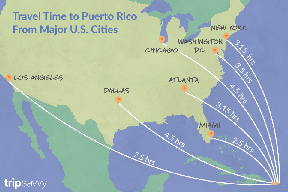 Travel Time to Puerto Rico From Major US Cities