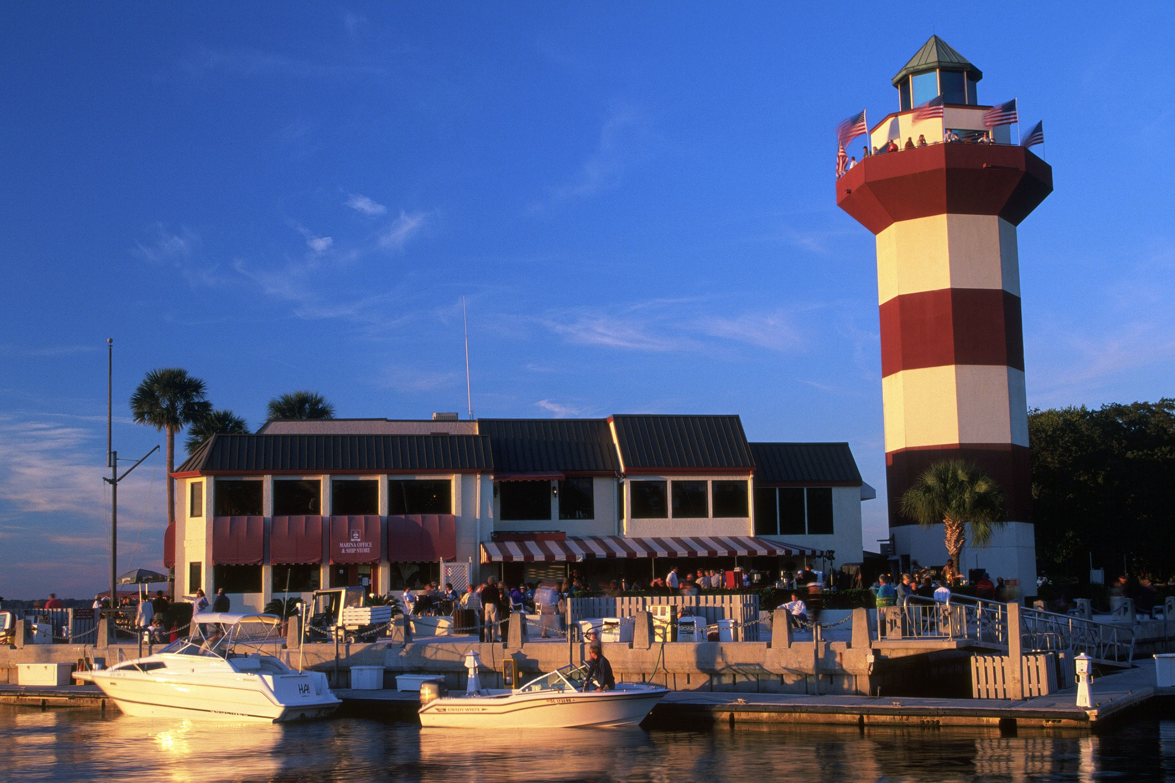 Hilton Head Island lighthouse and; harbor, SC