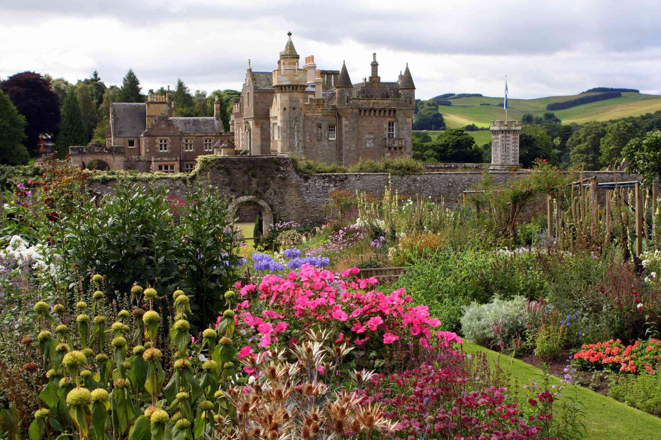 Abbotsford House seen from its blooming gardens