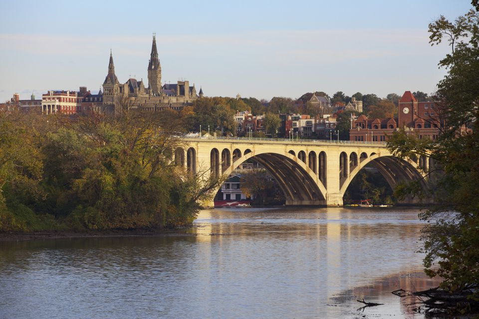 Georgetown University and the Key Bridge outside of Washington DC