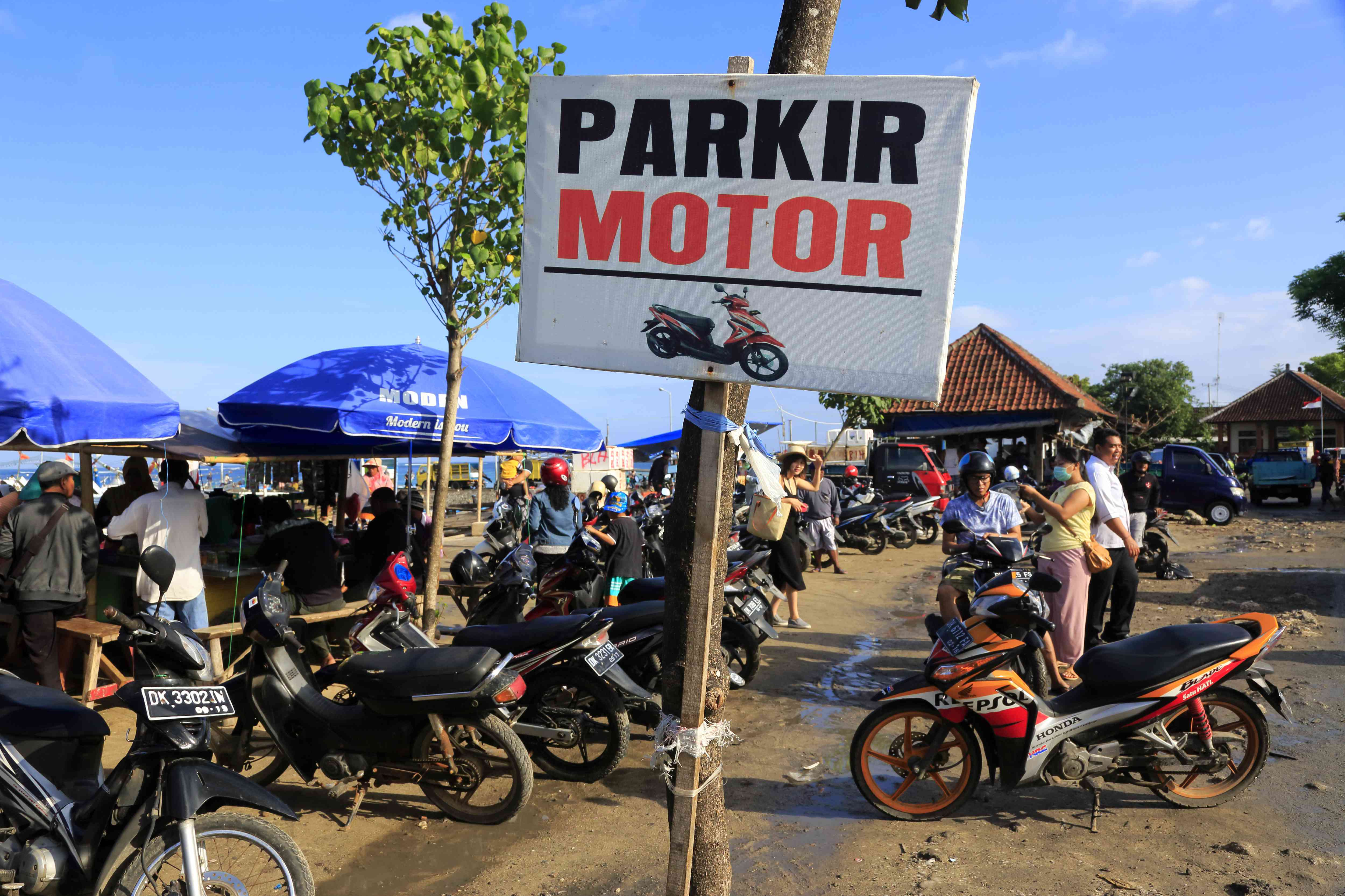 Motorbike parking at a beach in Bali