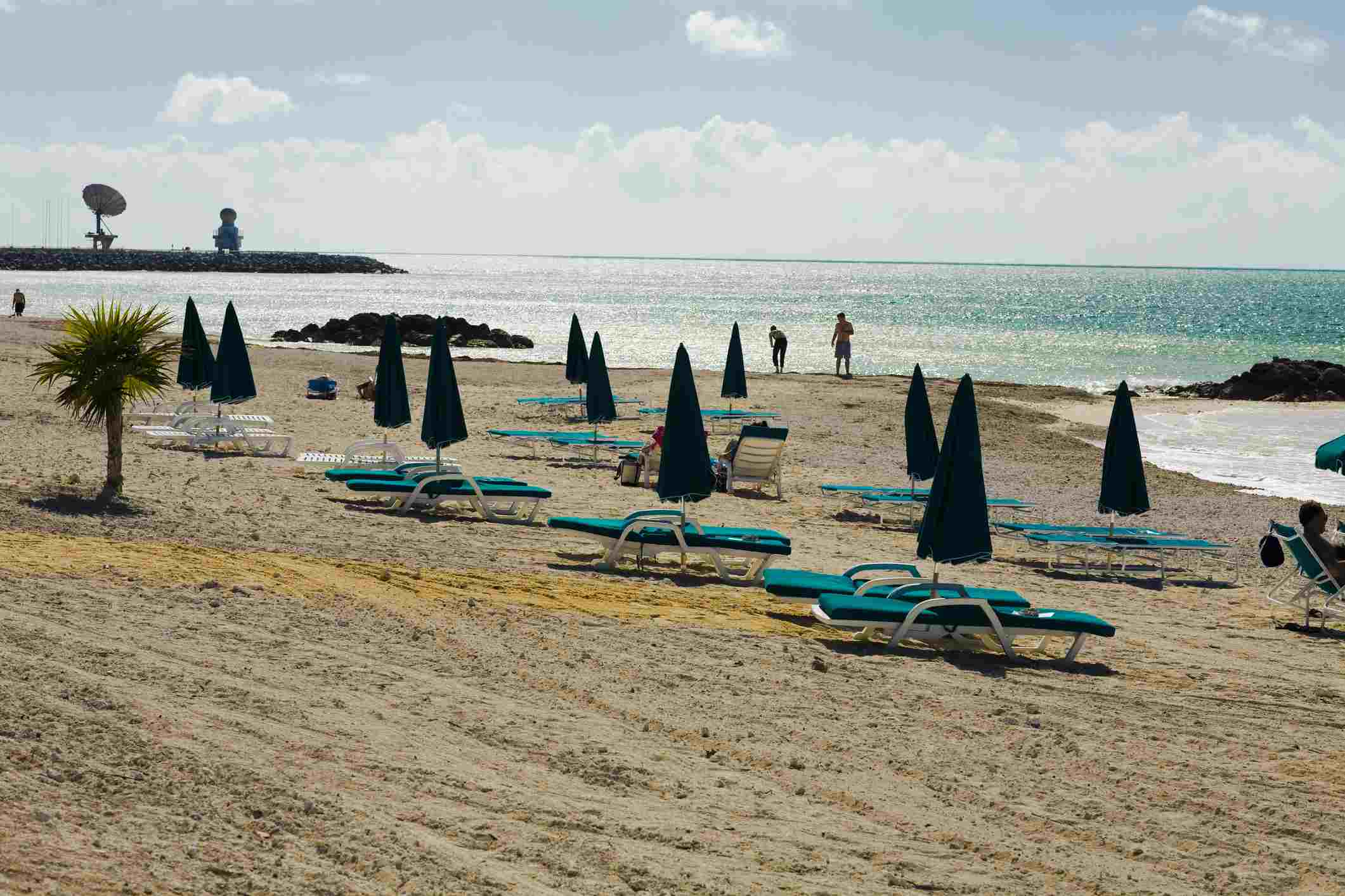 Lounge chairs on the beach, Fort Zachary Taylor State Park, Key West, Florida, USA
