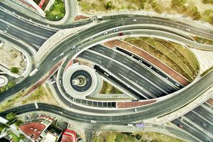 Aerial view of freeways in Mexico
