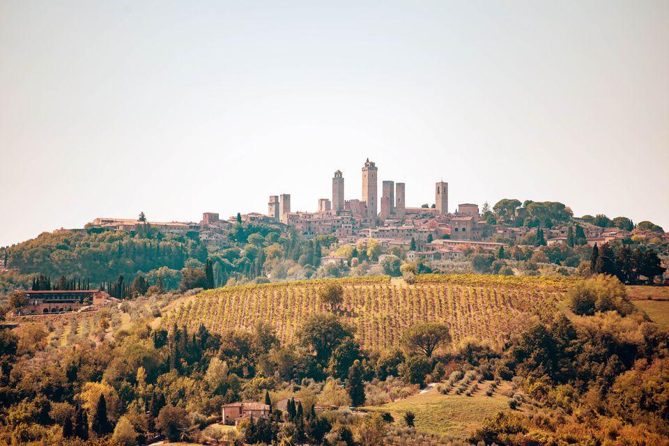Una vista de San Gimignano desde lejos con un viñedo en primer plano