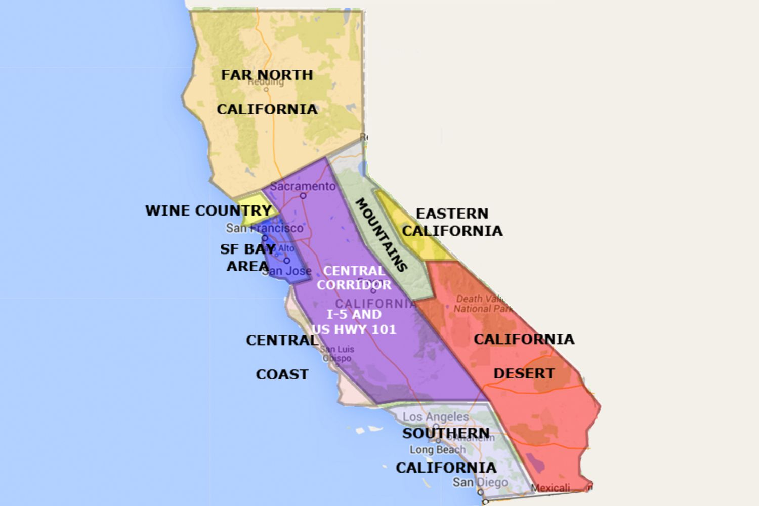 Map 0f California.Maps Of California Created For Visitors And Travelers