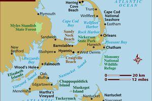 Map of Cape Cod, Nantucket and Martha's Vineyard
