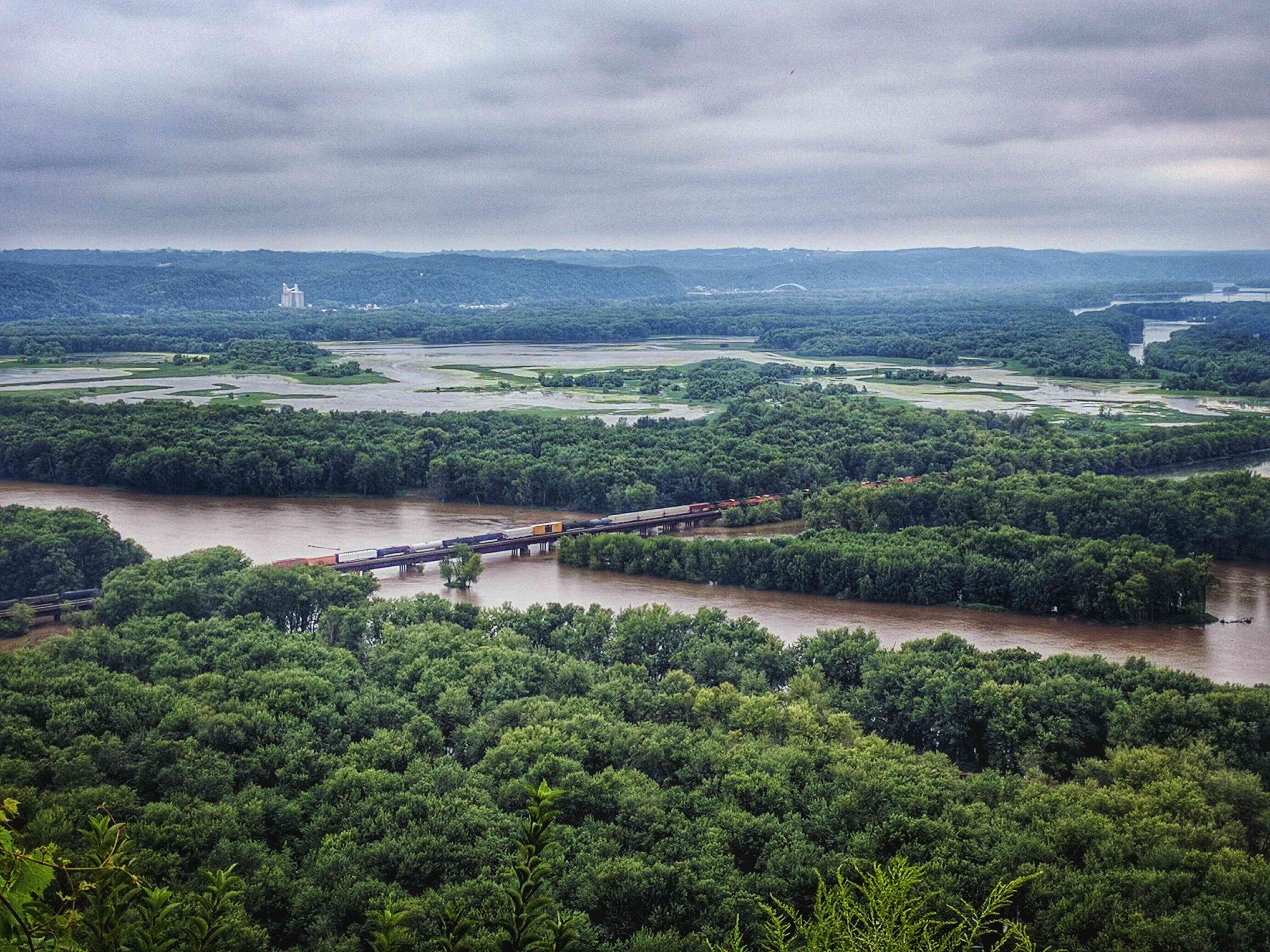 Railway Bridge Over River At Wyalusing State Park