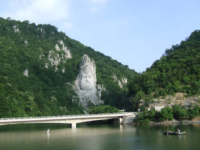 Dacian Chief Decebalus Carved into the Rock Cliff of the Iron Gates of the Danube