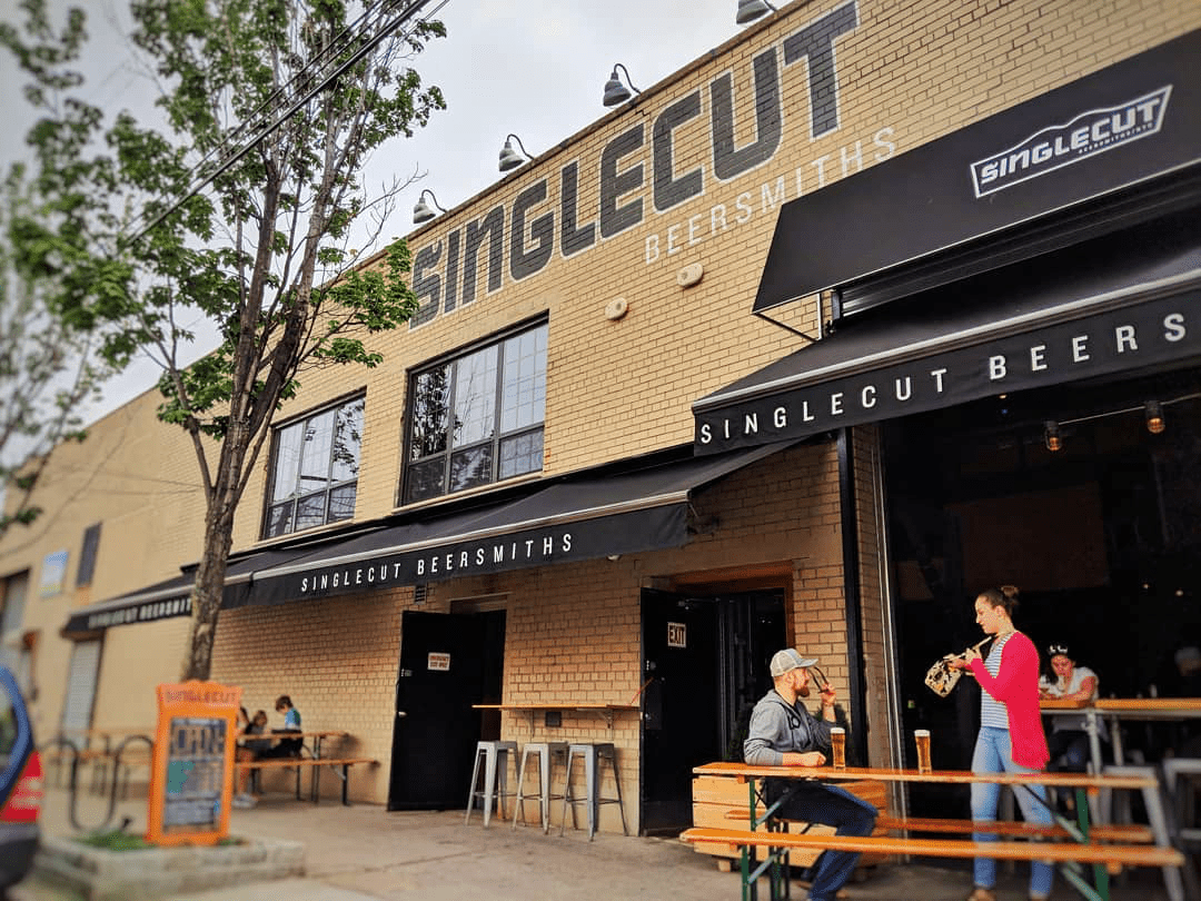 the exterior of the taproom at SingleCut
