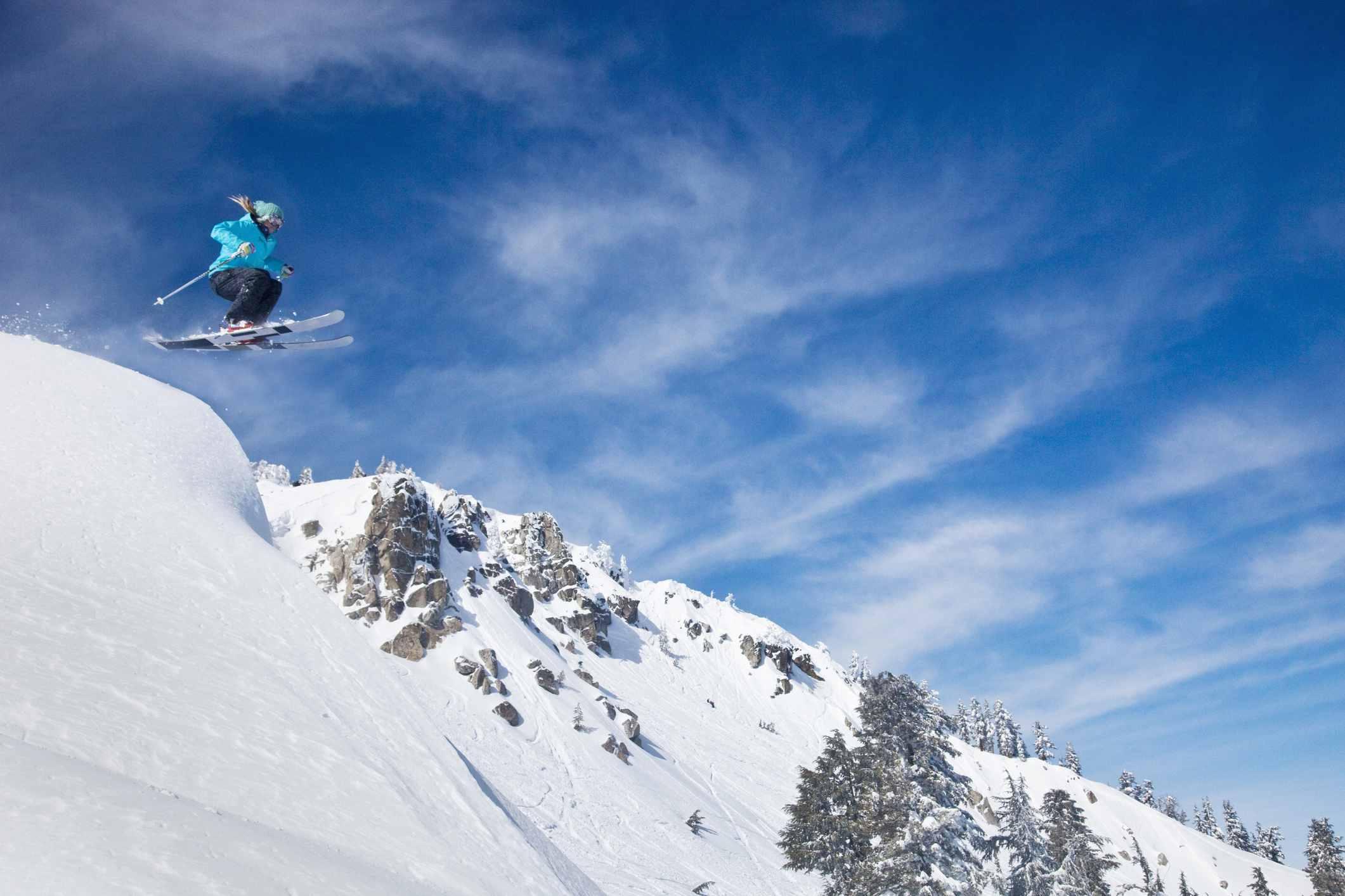 Female Skiier on Squaw Valley mountain, Lake Tahoe, California