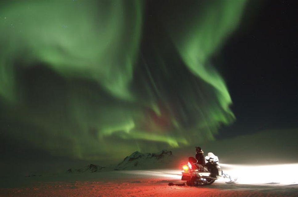 Northern Lights Snowmobiling Experience on Langjökull Glacier from Reykjavik