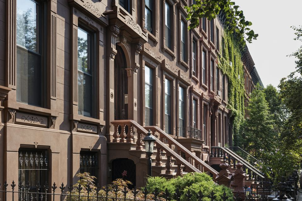 Brownstone rowhouses in the Bedford-Stuyvesant neighborhood in Brooklyn