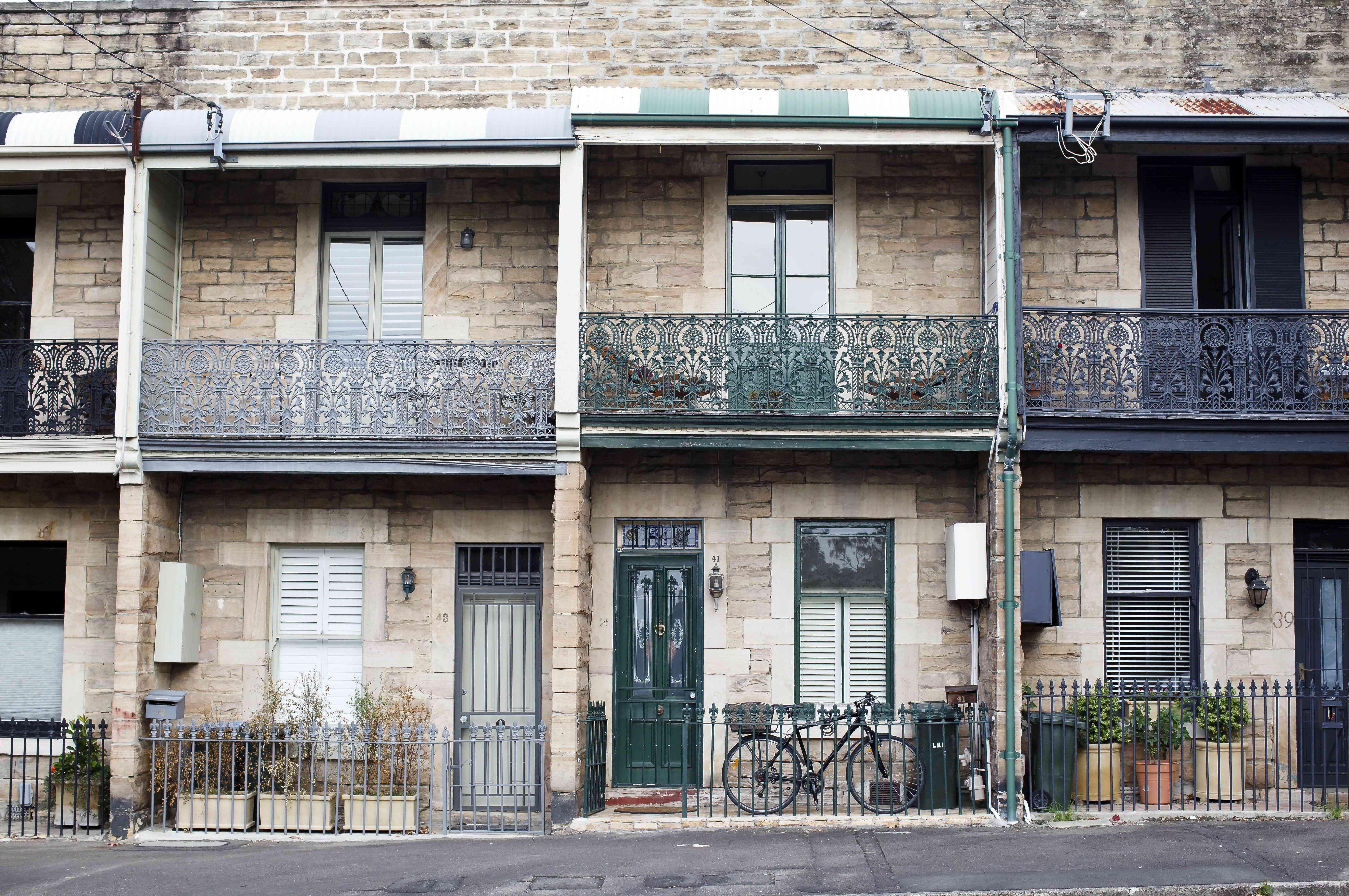 Restored terrace houses in Balmain