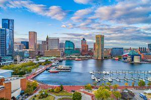 Baltimore, Maryland, USA Downtown Skyline Aerial